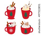cute set with four illustration ... | Shutterstock .eps vector #497522851