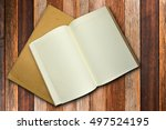 top view book and envelope on... | Shutterstock . vector #497524195