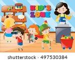 children buying things in kids... | Shutterstock .eps vector #497530384