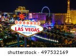 Stock photo welcome to fabulous las vegas nevada sign with top view of blur strip road background 497532169
