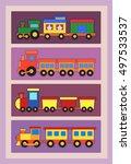 set of locomotives for the... | Shutterstock .eps vector #497533537