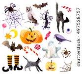 watercolor pumpkin day... | Shutterstock . vector #497538757