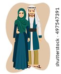 arab muslim couple man and... | Shutterstock .eps vector #497547391