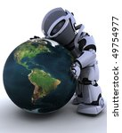3D render of a robot embracing earth - stock photo