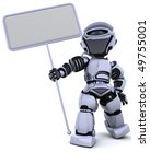 3D render of a robot and blank sign - stock photo