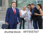 team leader stands with four... | Shutterstock . vector #497555707