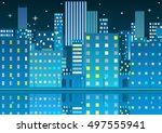 pixel art night city card.... | Shutterstock .eps vector #497555941