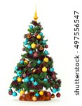 studio shot of a christmas tree ... | Shutterstock . vector #497556547