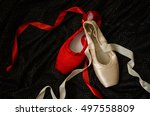 Red And White Ballet Shoes On...