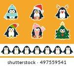 set of vector cartoon stickers. ... | Shutterstock .eps vector #497559541