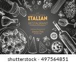 italian cuisine top view frame. ... | Shutterstock .eps vector #497564851