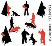 set of dog sport silhouettes.... | Shutterstock .eps vector #497564911