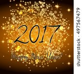 gold glitter happy new year... | Shutterstock .eps vector #497567479