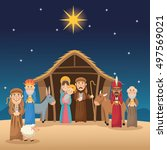 mary joseph jesus wise men and... | Shutterstock .eps vector #497569021