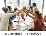 teamwork power successful... | Shutterstock . vector #497569099