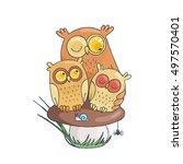 Mama Owl With Two Sleepy Owlet...