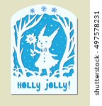 holly jolly christmas card with ... | Shutterstock .eps vector #497578231