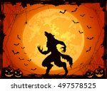 orange halloween background... | Shutterstock .eps vector #497578525