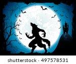 dark halloween background with... | Shutterstock .eps vector #497578531