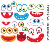 eyes and mouths vector cartoon... | Shutterstock .eps vector #497583661