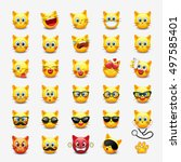 set of cute cat emoticon ...