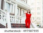 sensual glamour portrait of... | Shutterstock . vector #497587555