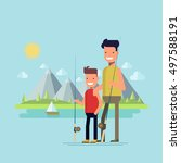 father and son going fishing.... | Shutterstock .eps vector #497588191