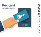 access control. key card in... | Shutterstock .eps vector #497590069