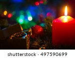 christmas candle christmas tree ... | Shutterstock . vector #497590699
