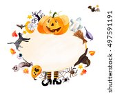 watercolor pumpkin day... | Shutterstock . vector #497591191
