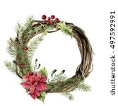 watercolor christmas wreath...   Shutterstock . vector #497592991