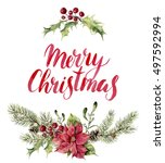 watercolor christmas floral... | Shutterstock . vector #497592994