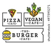 burger cafe. pizza cafe. vegan... | Shutterstock .eps vector #497595271