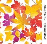 fall seamless pattern. maple... | Shutterstock .eps vector #497597989