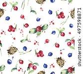 berry seamless pattern. wild... | Shutterstock . vector #497598871