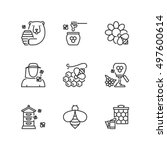 thin line icons set about honey.... | Shutterstock .eps vector #497600614