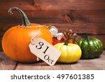 autumn pumpkins and decor... | Shutterstock . vector #497601385