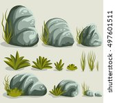 rock stone set with grass.... | Shutterstock .eps vector #497601511