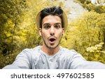 Amazed Man Taking A Selfie....