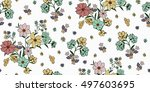 seamless floral pattern in... | Shutterstock .eps vector #497603695