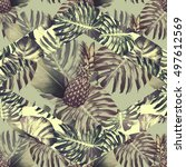 pineapples  tropical leaves ... | Shutterstock . vector #497612569