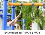 young asian boy hang the yellow ... | Shutterstock . vector #497617975