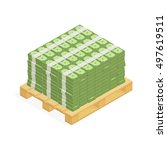 big stacked pile of cash on the ... | Shutterstock .eps vector #497619511