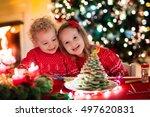little boy and girl making... | Shutterstock . vector #497620831