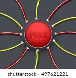 technical button push with wire ... | Shutterstock .eps vector #497621221