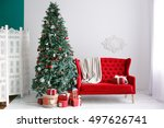 stylish christmas interior with ... | Shutterstock . vector #497626741