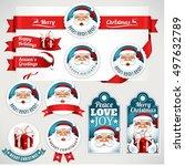 vector set of vintage christmas ... | Shutterstock .eps vector #497632789