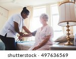 female nurse doing blood... | Shutterstock . vector #497636569