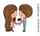 couple holding bouquet with... | Shutterstock .eps vector #497639875