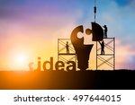 silhouette team business... | Shutterstock . vector #497644015